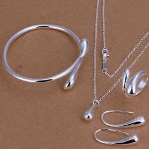 Fashion-Women-Wedding-Silver-Drop-Necklace-Bracelet-Earring-Ring-Jewelry-Set-925