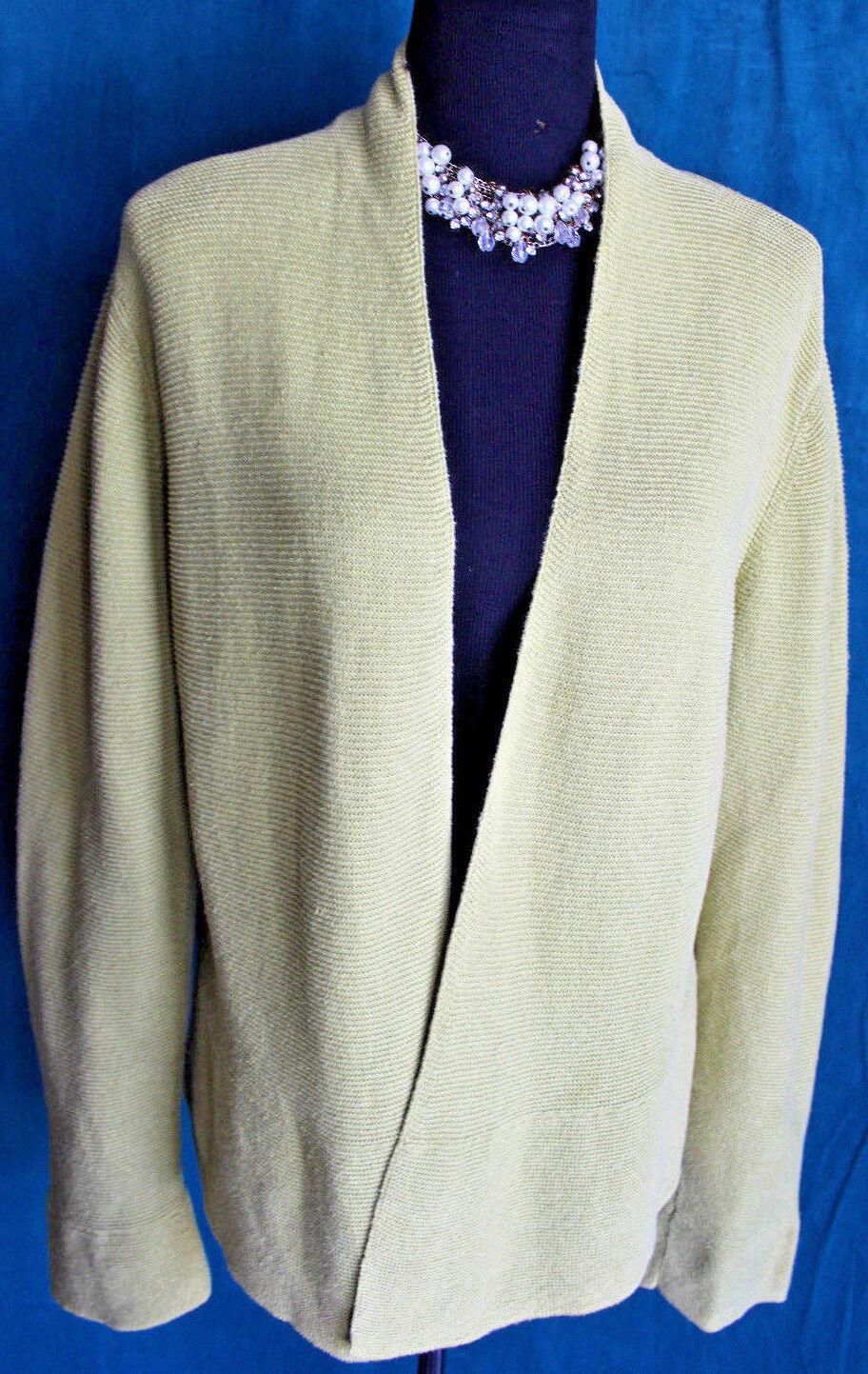 EILEEN FISHER Lime Green Open Cardigan Sweater Sz L Linen Cotton Long Sleeve