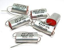 6x F&T MKP Lautsprecher Kondensatoren, 5.6 µF / 70 VAC, Speaker Tone Caps, NOS
