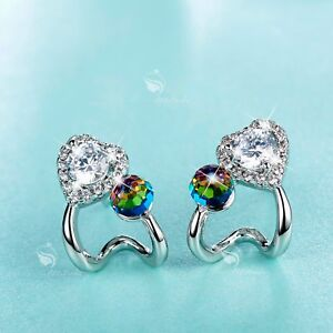 Details About 18k White Gold Gf Made With Clear Swarovski Crystal Ball Stud Heart Earrings