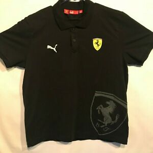 Details about Puma Scuderia Ferrari Mens Large Polo Shirt Black Italian  Flag Big Logo Print