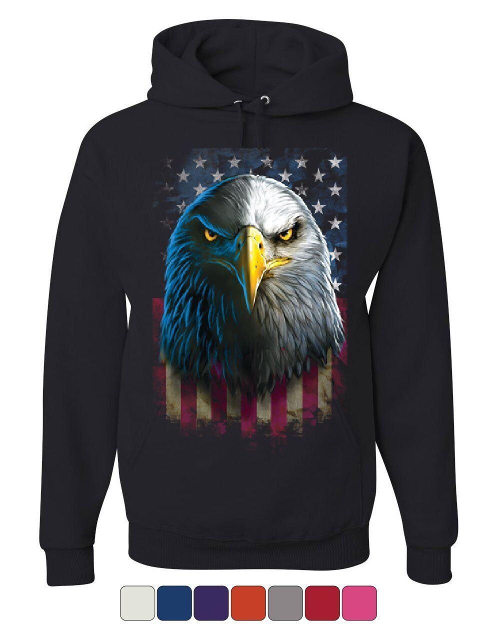 Bald Eagle Stare Hoodie 4th of July USA Stars and Stripes Flag Sweatshirt