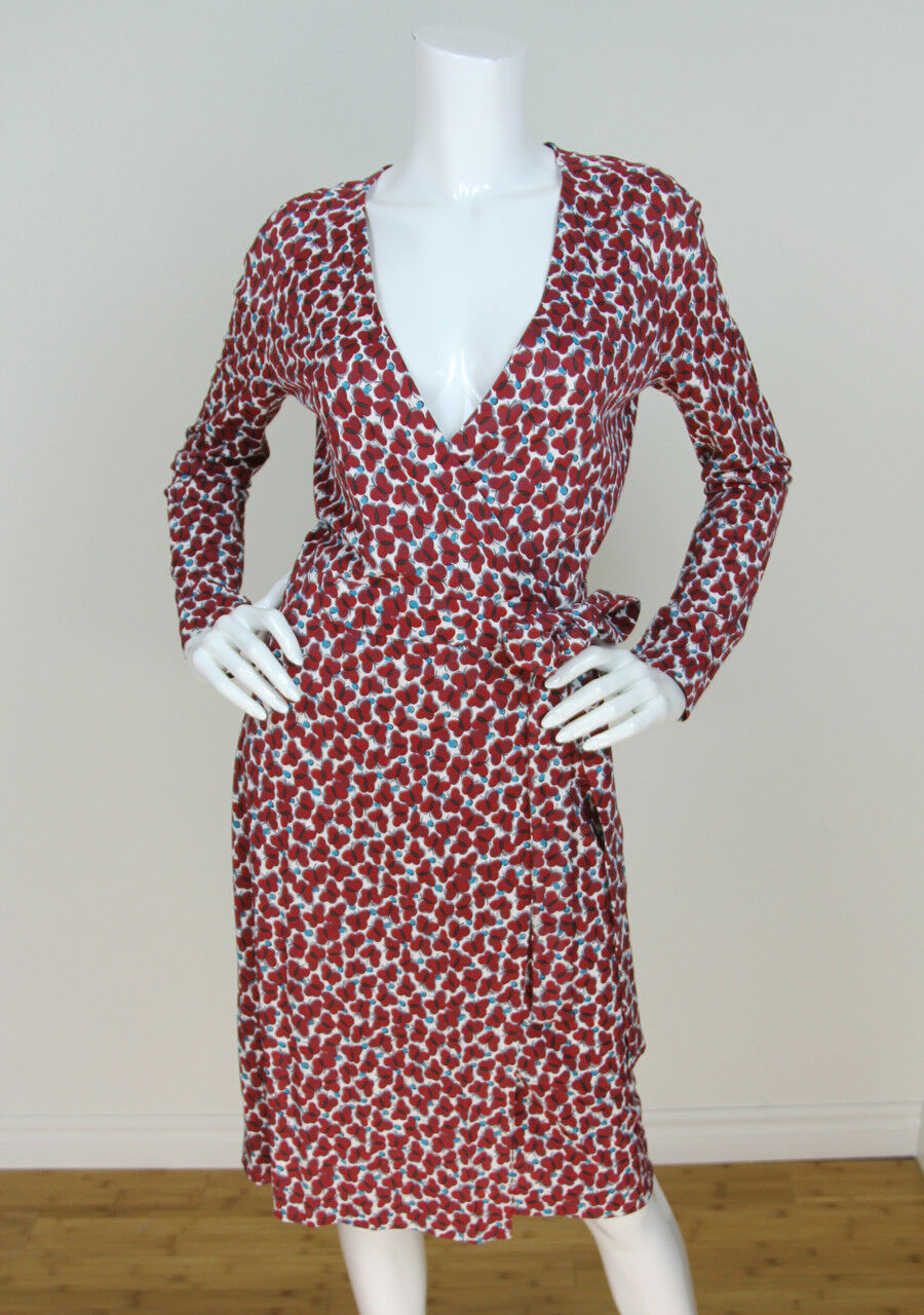 Cacharel 38 8 Butterfly Print Viscose Cotton Long Sleeve Wrap Dress