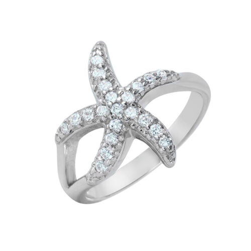 Sterling Silver Ladies Micro Pave Set CZ Stones Starfish Design Ring