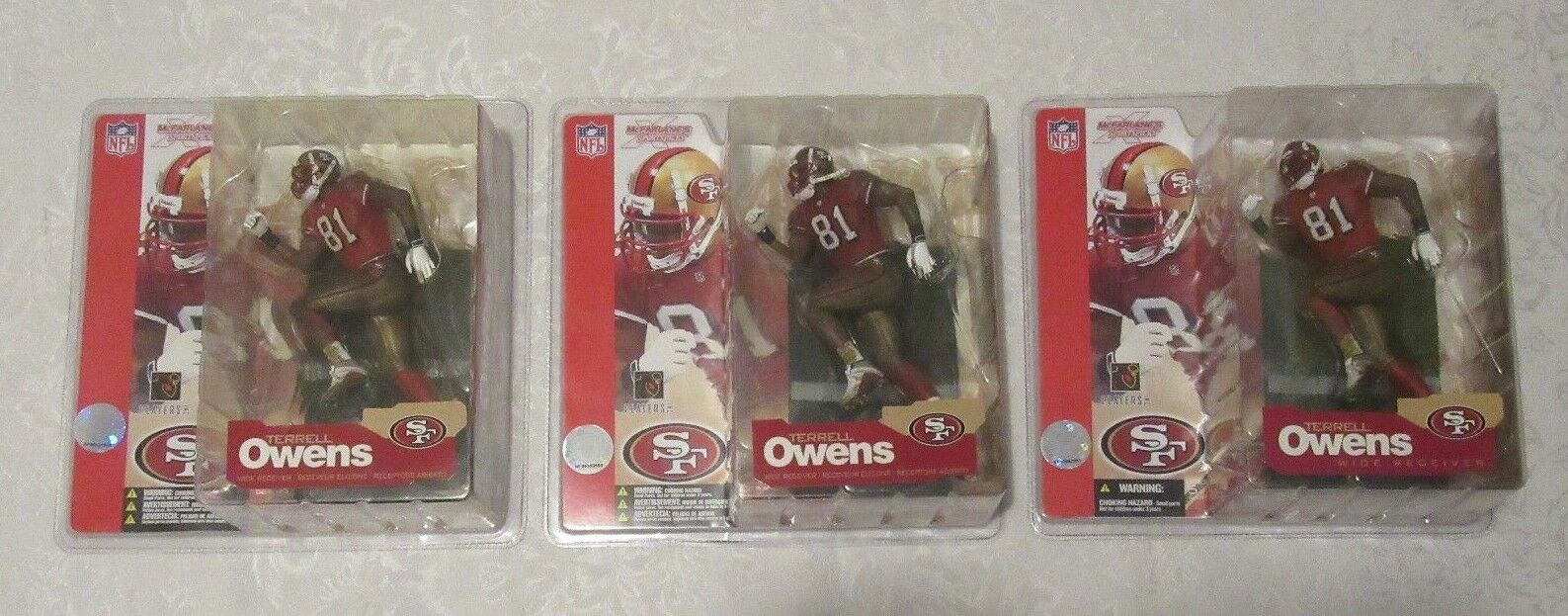 McFarlane NFL Series 4 Terrell Owens Chase Variant rot Jersey 49ers Lot of 3