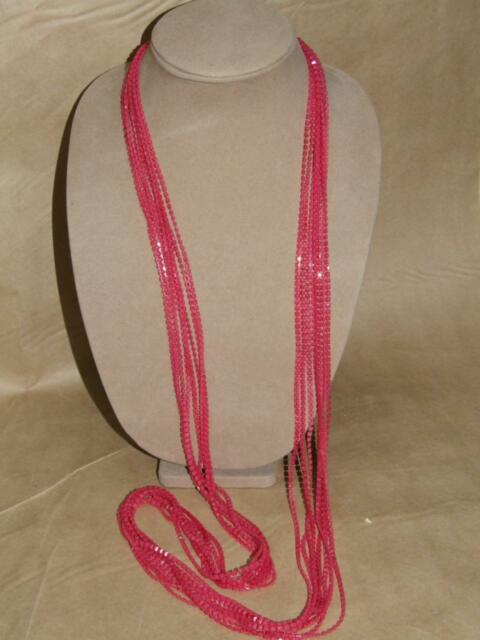 """Vintage 60s MOD 8 Strand Pink Square Celluloid Bead Flapper Length Necklace 52"""""""