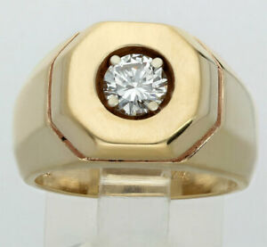 8bf33449d1dcc Details about Mens diamond pinky ring solitaire 14K yellow gold VVS round  brilliant .60C 13.8G