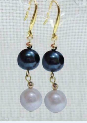 Details about  /PERFECT 9-10MM AAA south sea white and black pearl earrings 14K GOLD