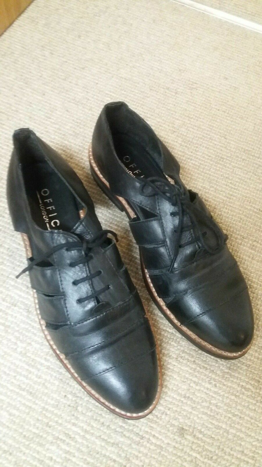 OFFICE BLACK LEATHER CLEATED SOLE LACE UP Schuhe SIZE UK 7 EUR 40