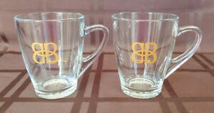 Bailey's Irish Cream Clear Glass Coffee Mugs w/Gold BB Logo 10oz. Set Of 2