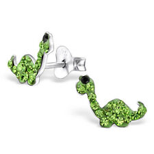 Children Girls 925 Sterling Silver Green Crystal Dinosaur Stud Earrings Boxed