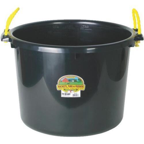 Black 70 Qt Muck Bucket Utility Feed Grain Silage Garbage Tub  PSB70BLACK