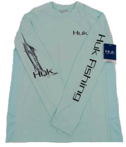 Huk Men/'s Art of Blue Marlins Performance Long Sleeve Shirt