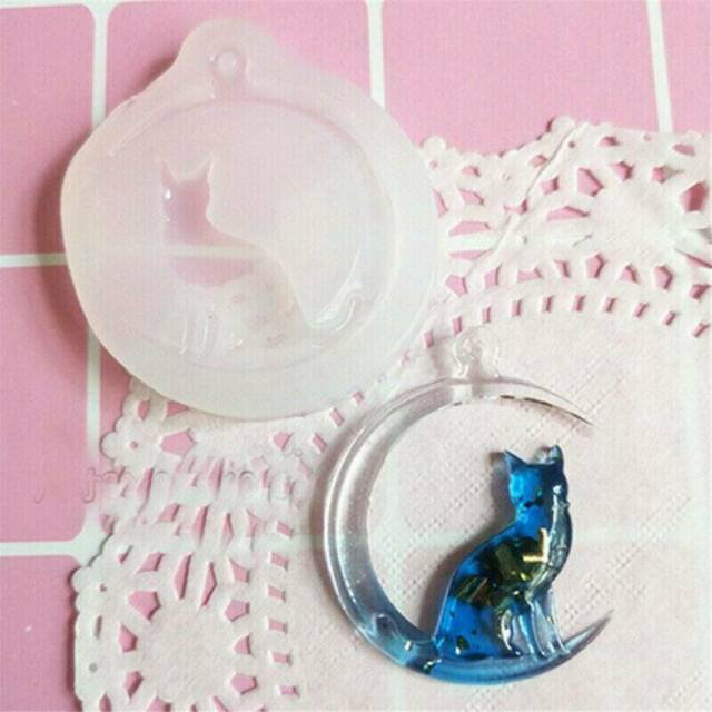 Moon Cat Silicone Pendant Mold Jewellry Making Epoxy Resin Mould Casting Tool 3D