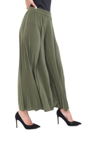 Señoras Arruga Plisado De Ancho Piernas Palazzo culotte verano informal Pantalones Pantalones