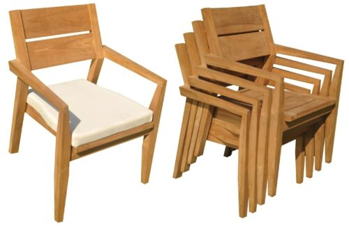 DSVL A-Grade Teak 11pc Dining Set Caranas Rectangle Table Stacking Arm Chairs