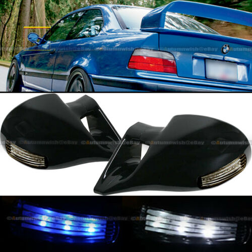 For 06-10 Civic 2DR M-3 Style LED Signal Powered Glossy Black Side View Mirror