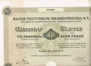 Ungarische-Beamtensparcassa-AG-Budapest-1927-10-Pengoe-VF