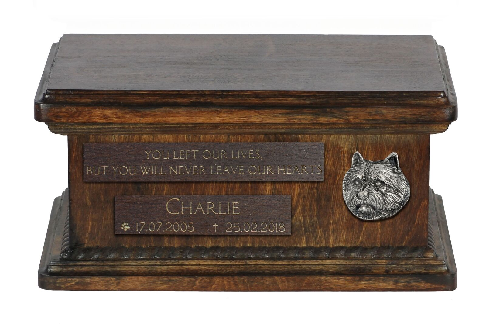 Norwich Terrier - wooden urn for dog's ashes low model Art Dog