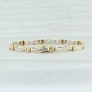 Women-039-s-Solid-14k-Yellow-Gold-Over-1-00-Ct-Baguette-Diamond-Tennis-Bracelet-7-034