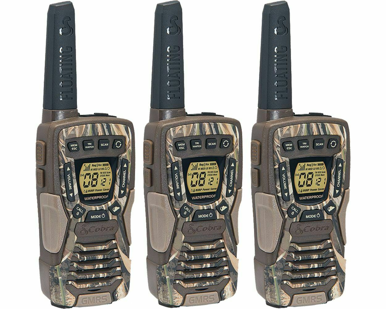 ACXT1035R FLT CAMO 3P electronic_express Cobra 37-Mile Waterproof Rechargeable Camo Two-Way Radio Walkie Talkie - 3 Pack
