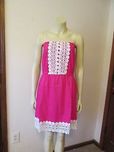 Fucshia-Strapless-Dress-by-Mud-Pie-White-Embroidered-Trim-Size-Small-NWT