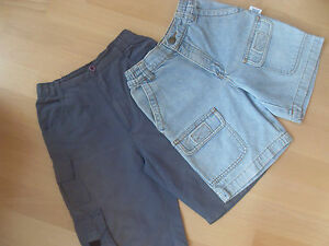 2-Shorts-1x-leichte-Stoffshort-taubenblau-1Jeansshort-hellblau-Gr-110