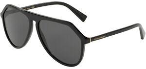 Dolce & Gabbana Men's Black Flat Top Pilot Sunglasses - DG4341 50187 59 - Italy