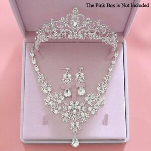 Wedding-Tiara-Crystal-Necklace-Set-Heart-Shape-Bridal-Rhinestone-Jewelry-Set