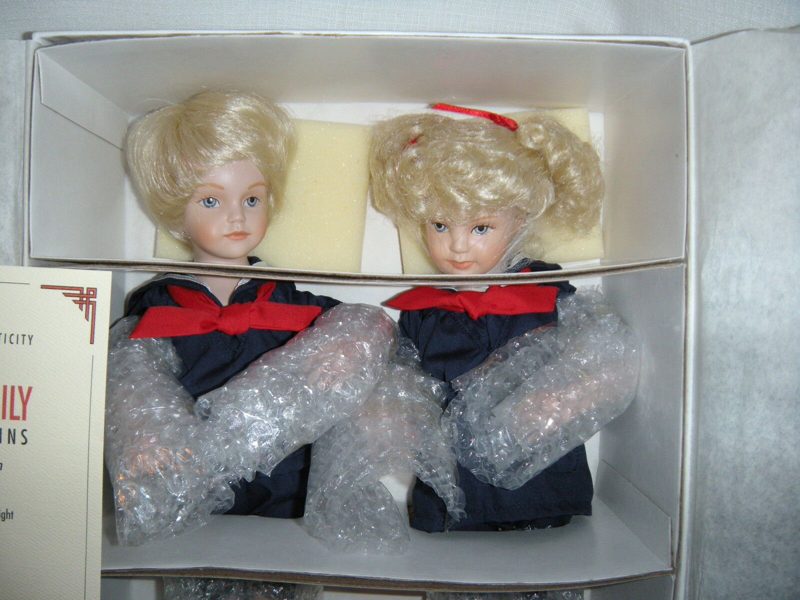 The Sailor Twins Eric & Emily 12 Porcelain Dolls By Phyllis Wright 1992 NIB LTD