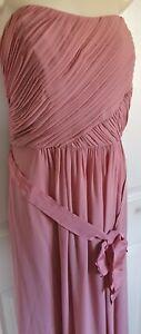 M&s Antik Rose abnehmbare Träger Brautjungfer Lange Maxi Kleid Bnwt Größe UK 18