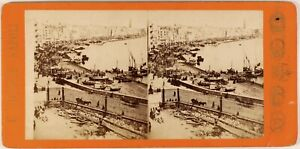 Italia-Napoli-Il-Port-c1865-Foto-Giorgio-Sommer-Stereo-Vintage-Albumina