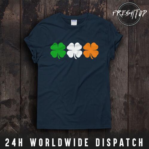 St Patricks Tag T-Shirt Irland Farben Flag Kleeblatt Vier Blatt Klee Paddy