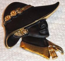 Woman With Hat Ladies Shoe Crystals Rhinestones Pin Brooch Vintage Antique NICE!