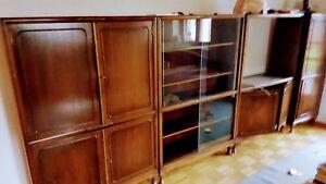 Details Zu Tv Schrankwand Holz Wohnzimmer Wohnwand Braun Antik In Vintage Flair