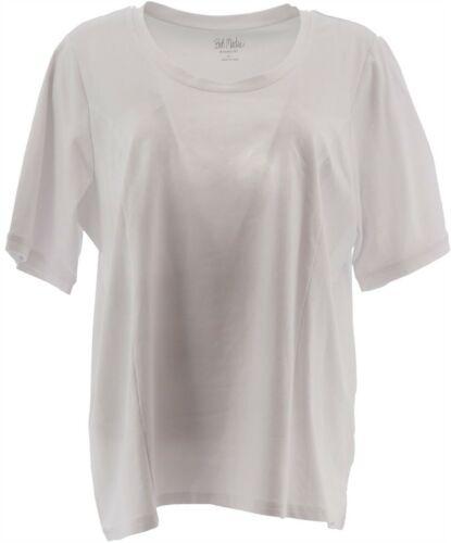 Bob Mackie Essential Elbow Slv T-Shirt White XL NEW A349666