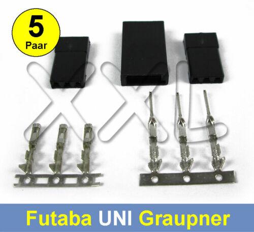 5 Paar 10 Satz Servostecker UNI Futaba Graupner Servo Stecker Buchsen Crimp
