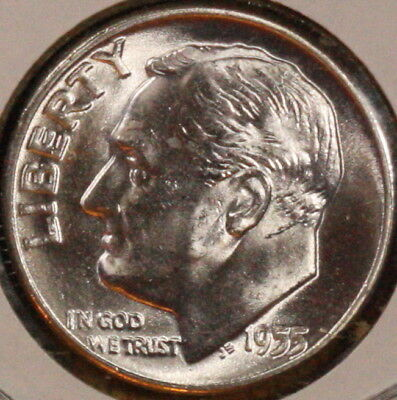 1955 P Roosevelt Dime  CH BU  LUSTER 90/% Silver US Coin FREE SHIPPING OBW ROLL