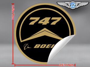OLD-VINTAGE-STYLE-ROUND-BOEING-B747-B-747-LOGO-DECAL-STICKER