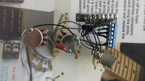 stratocaster 7 way solderless strat wiring harness kit 250k