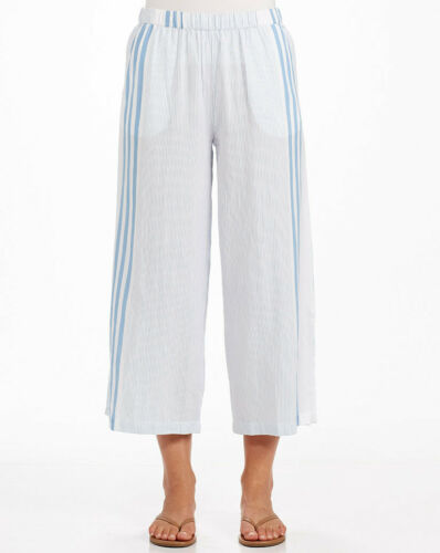 FRESH PRODUCE XL Blue DRIFTWOOD Arianna Stripe Beach Capri Pants $69 NWT New XL