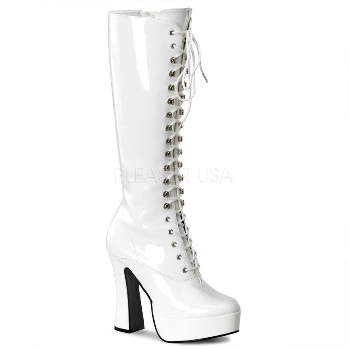 PLEASER Sexy WEISS Patent Platform Lace Up 5
