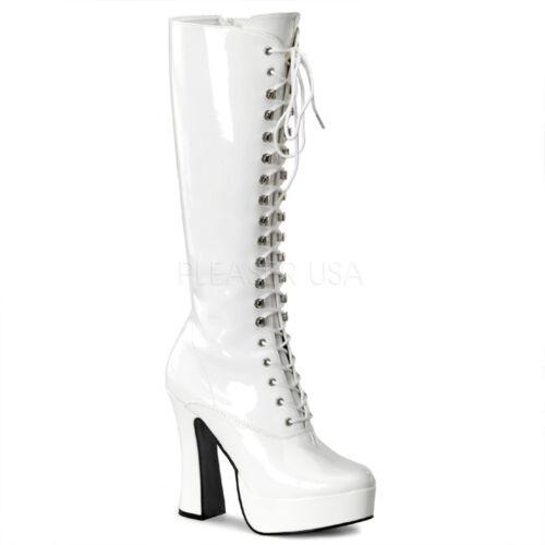 à danseuses genou forme talons bottes Dancer épais blanche Gogo sexy Heel lacets Pleaser à Plate Boots Knee Chunky Gogo brevet au de OvwFdnPq