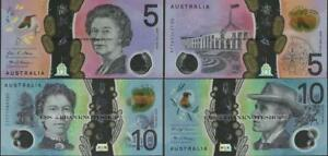 Australia-2-note-set-5-10-Dollars-2016-2017-Uncirculated-Polymer-EBS