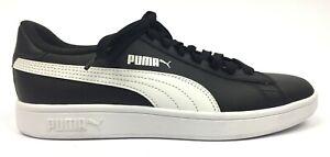 Puma-Smash-V2-Men-039-s-Leather-Athletic-Optimal-Comfort-Lace-up-Shoes-Size-8-Black