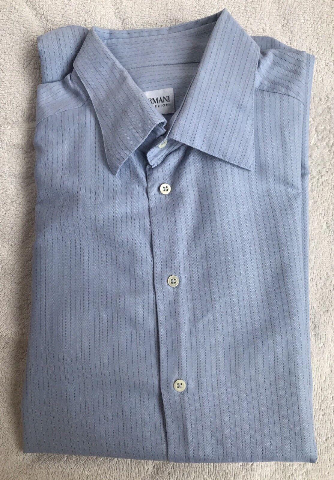 Armani Collezioni Men'sDesignerShirt - Light bluee Stripes - 17.5 Collar