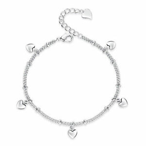 925-Sterling-Silver-Love-Heart-Chain-Bracelet-Women-Fashion-Jewellery