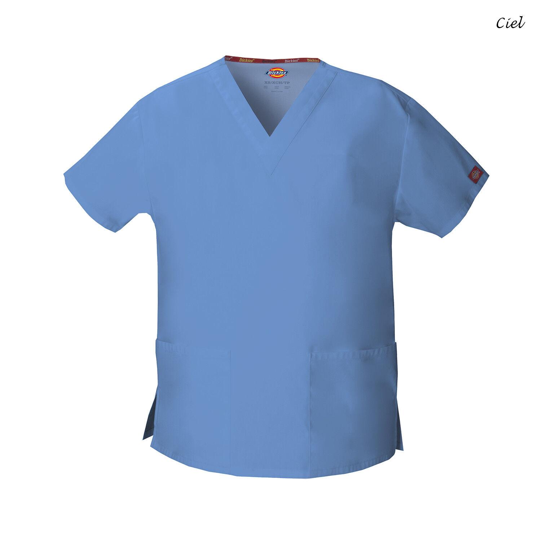 b0903786357 Buy Dickies Women's EDS Signature Scrubs 86706 Missy Fit V-neck Top Ceil  Blue Medium online   eBay