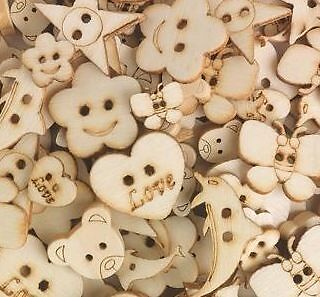 "30 Assorted Wooden Craft Buttons 1/2"" - 1"" Bear Heart Flower Butterfly Dolphin"