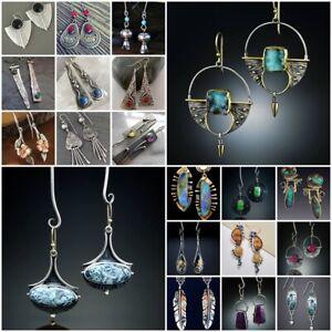 Boho-925-Silver-Emerald-Sapphire-Ear-Hook-Earrings-Stud-Dangle-Drop-Jewelry-Lady